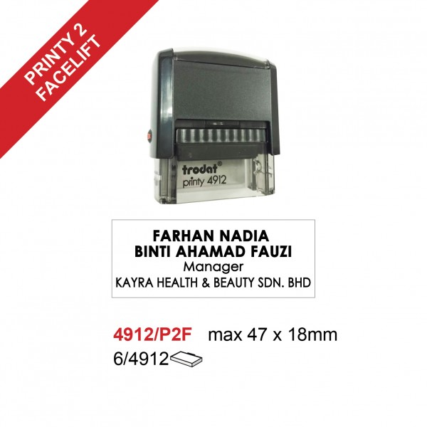 Trodat 4912/P2F Self Inking Stamp 47x18mm