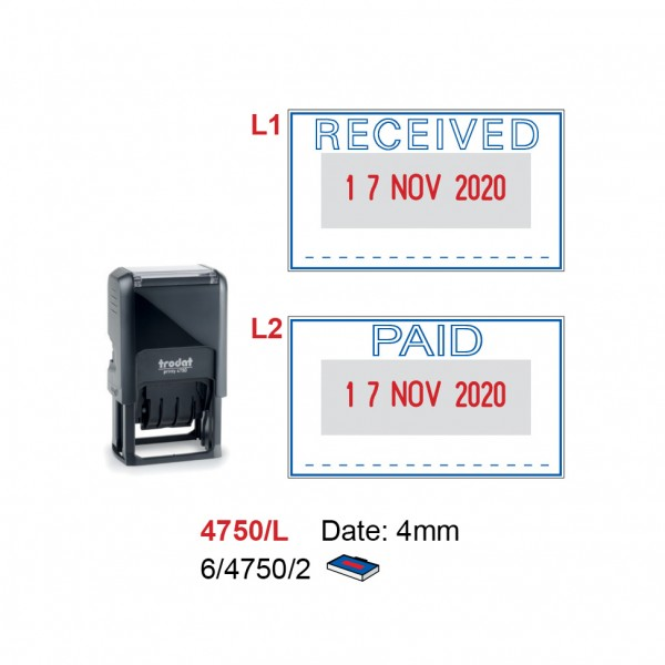 Self Inking Date Stamp 4750-L 41x24mm