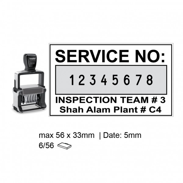 Heavy Duty Self Inking Numberer Stamp 8 Digit , 5558/PL , 56x33mm , 5mm