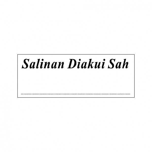 Salinan Diakui Sah Stock Stamp BS-6, 38x14mm